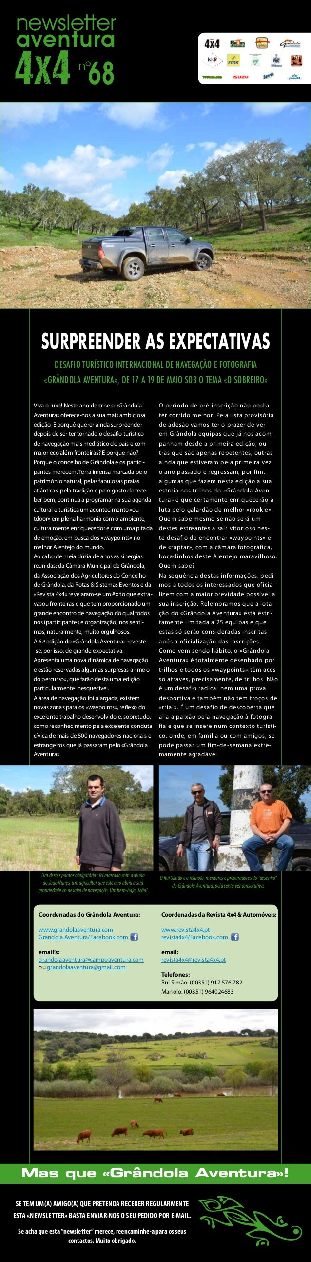 newsletteraventura                            nº                                68         SURPREENDER AS EXPECTATIVAS    ...