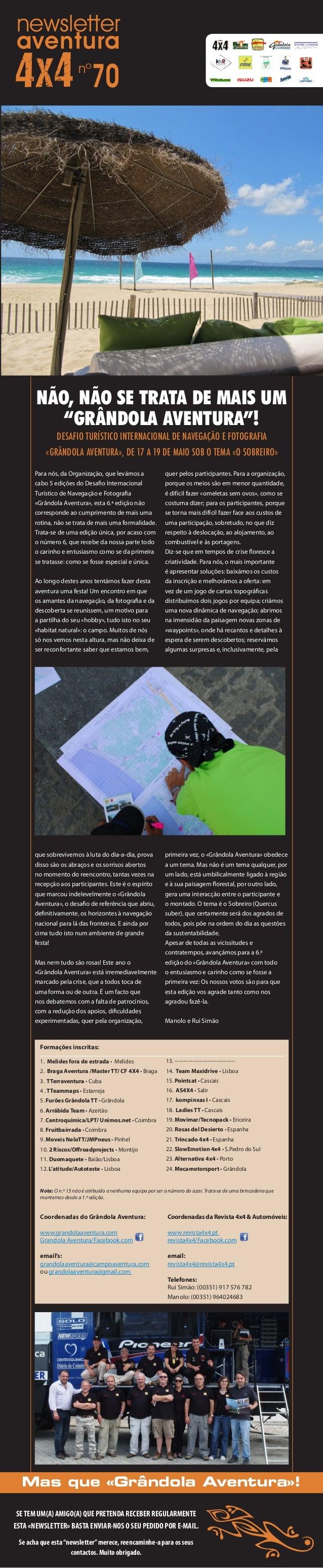 """newsletteraventura70nºNÃO, NÃO SE TRATA DE MAIS UM""""GRÂNDOLA AVENTURA""""!DESAFIO TURÍSTICO INTERNACIONAL DE NAVEGAÇÃO E FOTOG..."""
