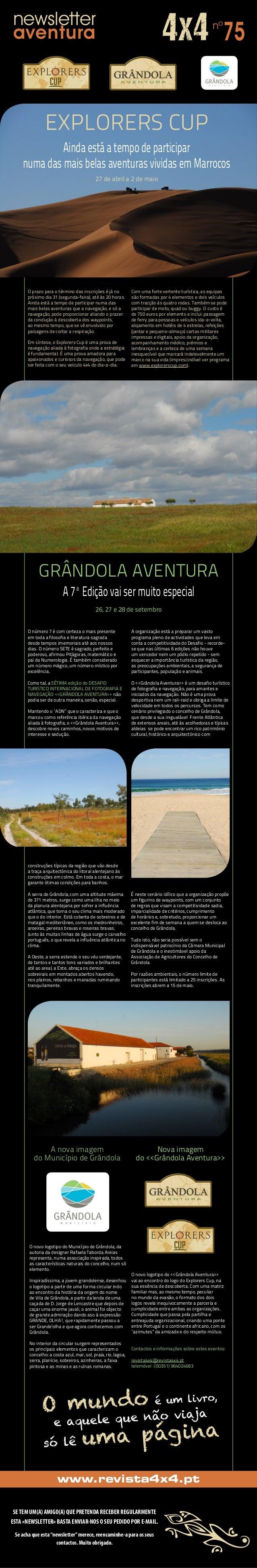 newsletter aventura 75nº 27 de abril a 2 de maio www.revista4x4.pt SETEM UM(A) AMIGO(A) QUE PRETENDA RECEBER REGULARMENTE ...