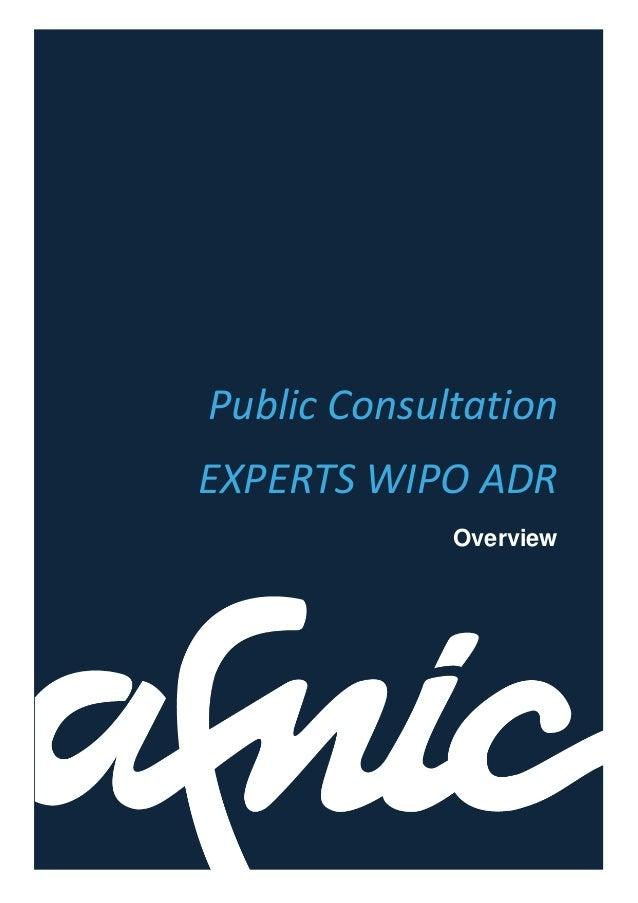 Public ConsultationEXPERTS WIPO ADROverview