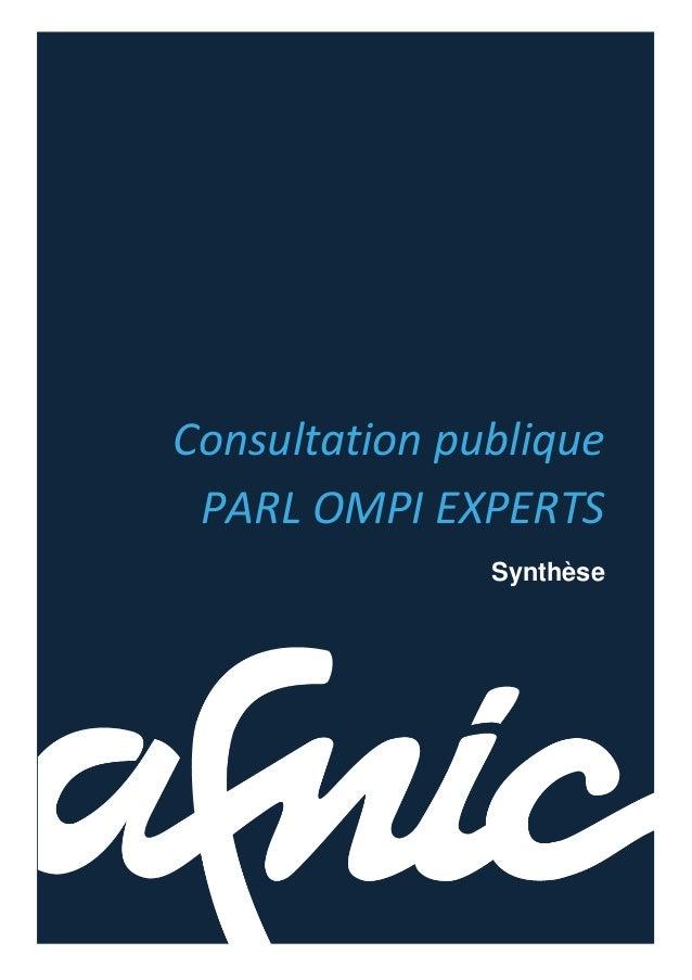 Consultation publiquePARL OMPI EXPERTSSynthèse