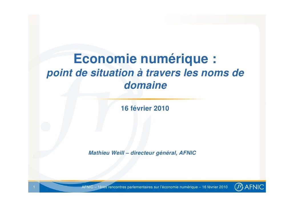 Economie numérique :     point de situation à travers les noms de                     domaine                             ...