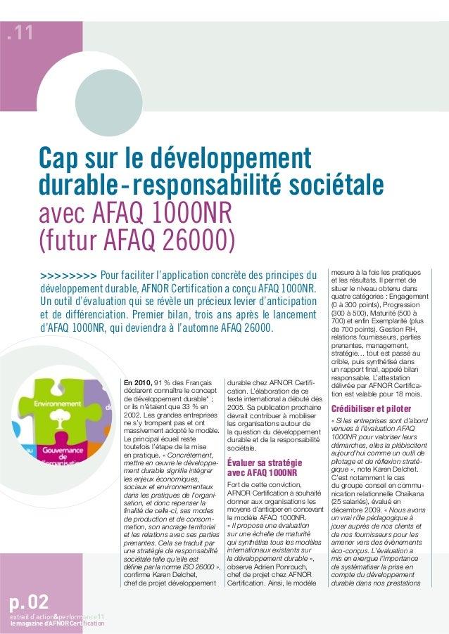.11         Cap sur le développement         durable-responsabilité sociétale         avec AFAQ 1000NR         (futur AFAQ...