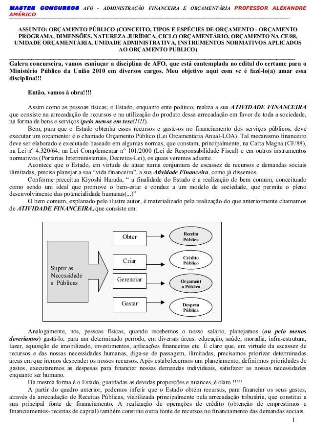 MASTER CONCURSOS AFO - ADMINISTRAÇÃO FINANCEIRA E ORÇAMENTÁRIA PROFESSOR ALEXANDRE AMÉRICO 1 _____________________________...