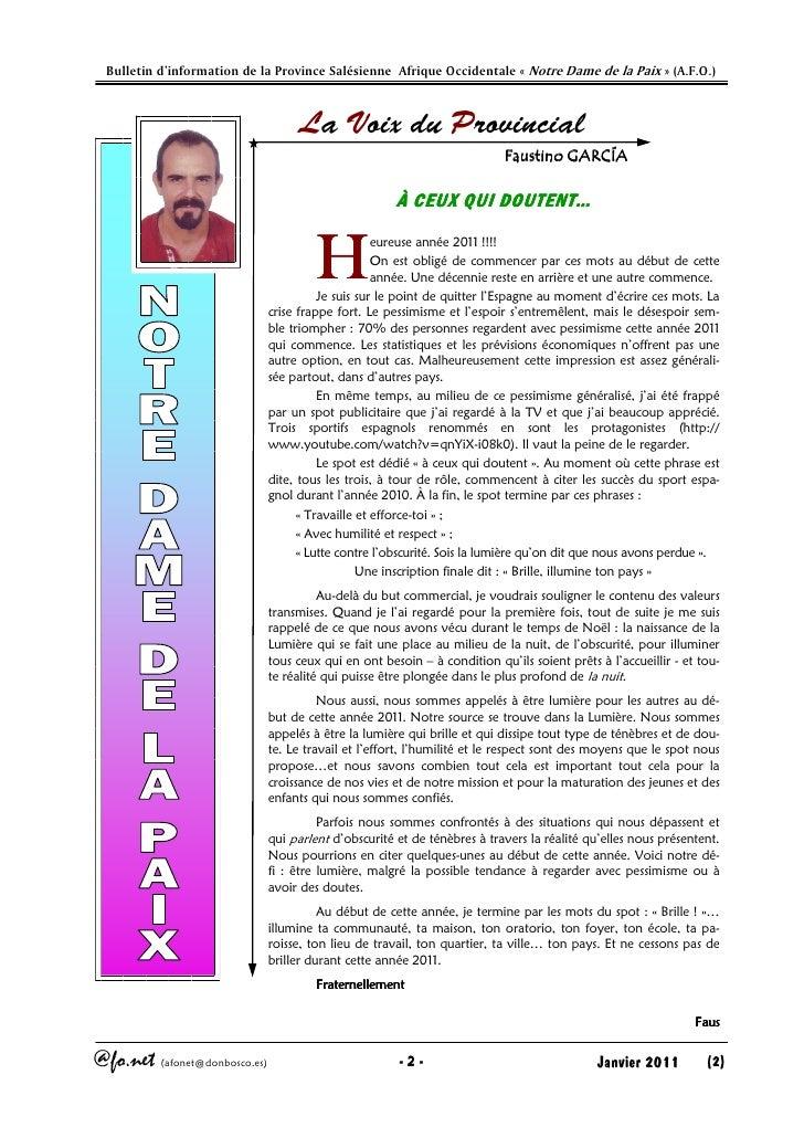Afonet n°110 janvir 2011 Slide 2