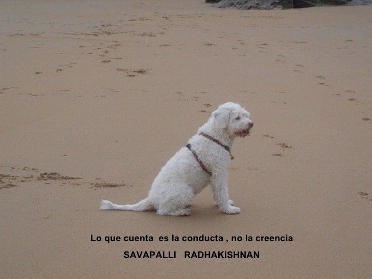 Lo que cuenta  es la conducta , no la creencia SAVAPALLI  RADHAKISHNAN