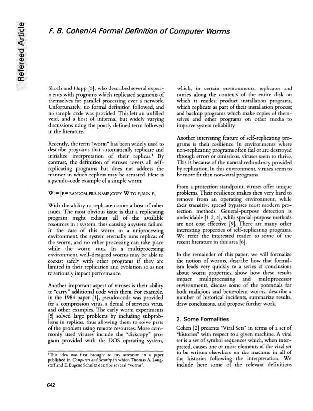 thesis of computer viruses - computer viruses: infection vectors, and feasibility of complete protection a computer virus is a program which, after being loaded into a computer's memory, copies itself.