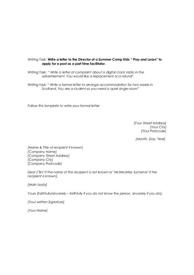 official letter to company