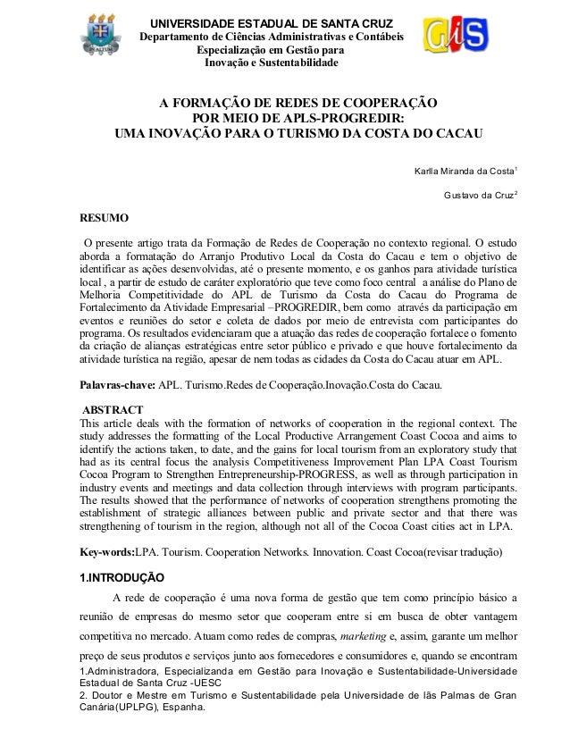 UNIVERSIDADE ESTADUAL DE SANTA CRUZDepartamento de Ciências Administrativas e ContábeisEspecialização em Gestão paraInovaç...