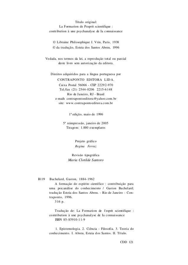 A formação do espírito cientifico - Gaston Bachelard ...