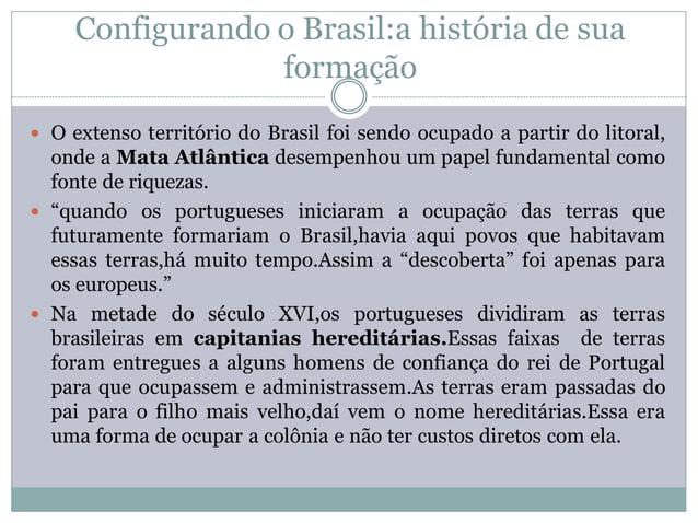 Configurando o Brasil:a história de sua                  formação O extenso território do Brasil foi sendo ocupado a part...