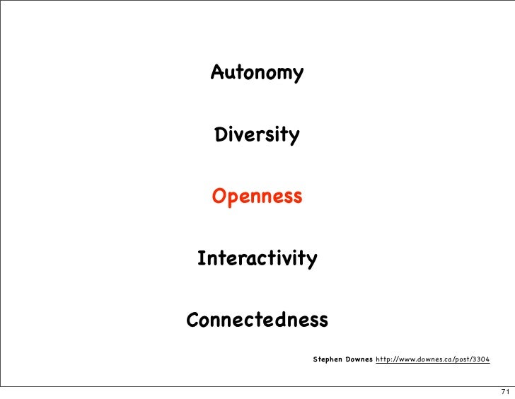 Autonomy     Diversity     Openness    Interactivity   Connectedness               Stephen Downes http://www.downes.ca/pos...