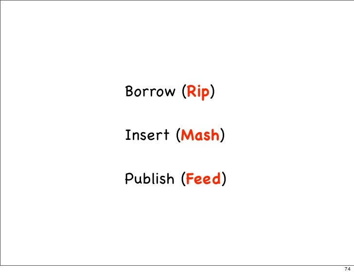 Borrow (Rip)  Insert (Mash)  Publish (Feed)                      74