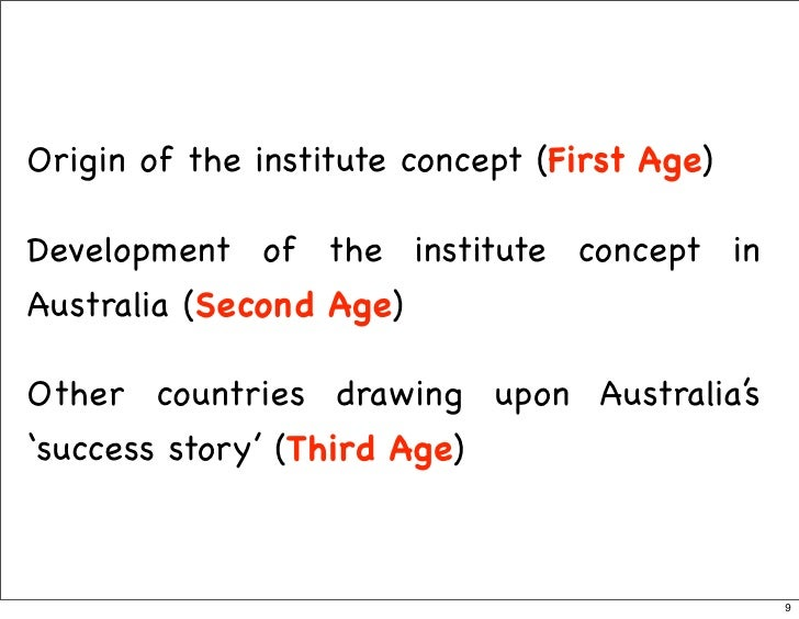Origin of the institute concept (First Age)  Development of the institute concept in Australia (Second Age)  Other countri...