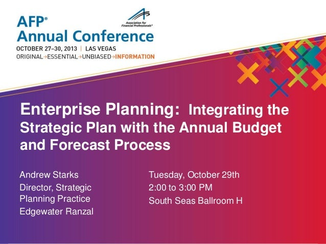 enterprise planning integrating the strategic plan with the annual b