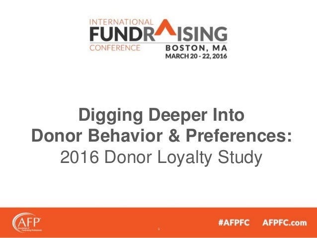 Digging Deeper Into Donor Behavior & Preferences: 2016 Donor Loyalty Study 1
