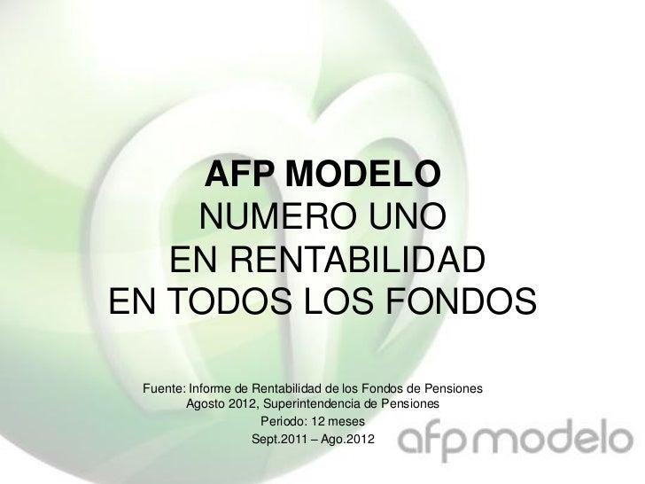 AFP MODELO    NUMERO UNO   EN RENTABILIDADEN TODOS LOS FONDOS Fuente: Informe de Rentabilidad de los Fondos de Pensiones  ...