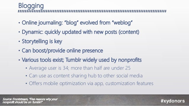 """Blogging • Online journaling: """"blog"""" evolved from """"weblog"""" • Dynamic: quickly updated with new posts (content) • Storytell..."""