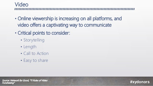 Video • Online viewership is increasing on all platforms, and video offers a captivating way to communicate • Critical poi...