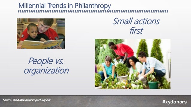 Millennial Trends in Philanthropy #xydonors People vs. organization Small actions first Source: 2014 Millennial Impact Rep...