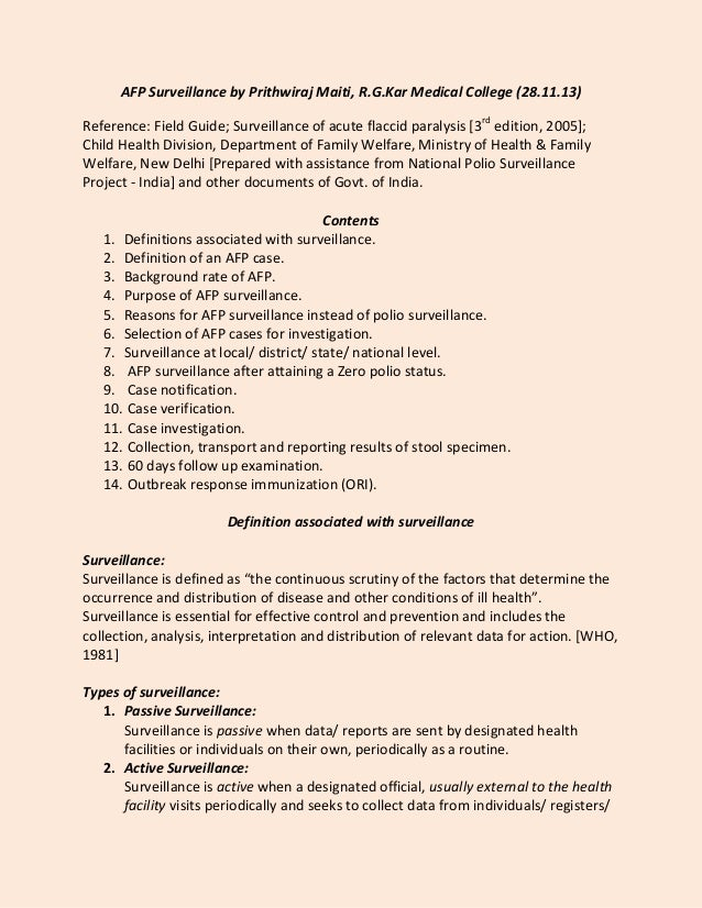 AFP Surveillance by Prithwiraj Maiti, R.G.Kar Medical College (28.11.13) Reference: Field Guide; Surveillance of acute fla...