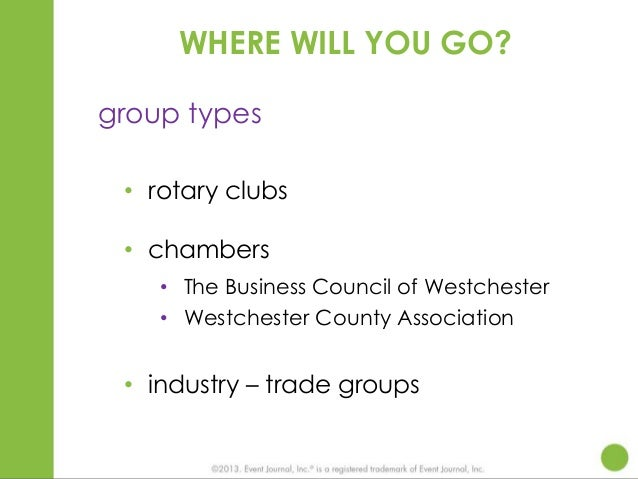 WHERE WILL YOU GO? group types • rotary clubs • chambers • The Business Council of Westchester • Westchester County Associ...