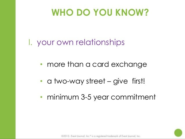 WHO DO YOU KNOW? I. your own relationships • more than a card exchange • a two-way street – give first! • minimum 3-5 year...