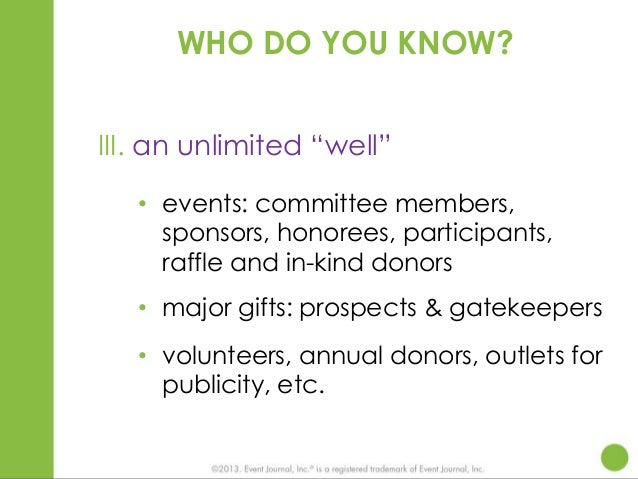 """WHO DO YOU KNOW? III. an unlimited """"well"""" • events: committee members, sponsors, honorees, participants, raffle and in-kin..."""