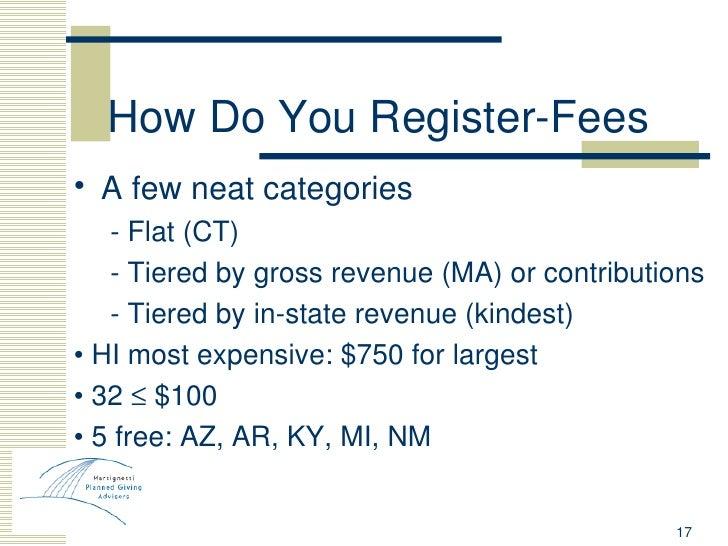 How Do You Register-Fees <ul><li>A few neat categories </li></ul><ul><ul><li>- Flat (CT) </li></ul></ul><ul><ul><li>- Tier...