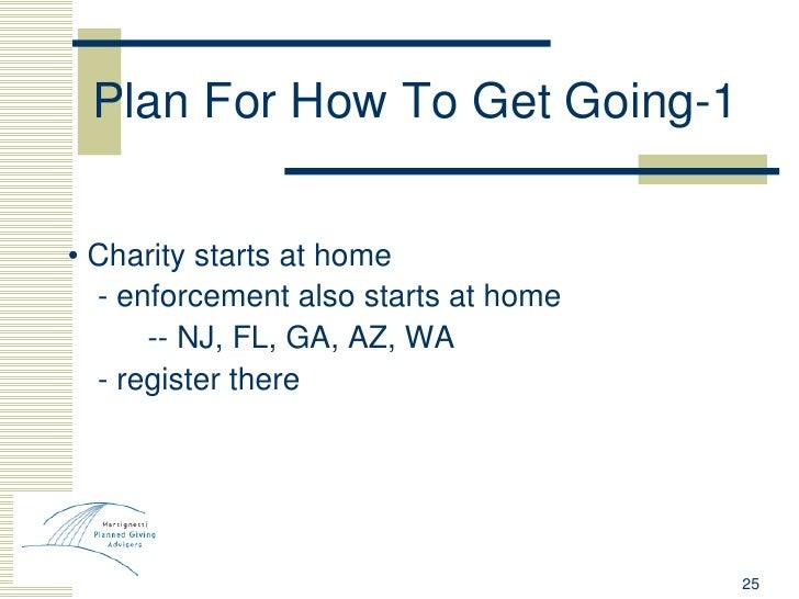 Plan For How To Get Going-1 <ul><li>•  Charity starts at home </li></ul><ul><li>- enforcement also starts at home </li></u...