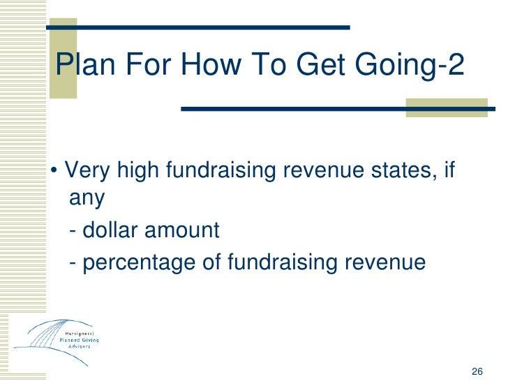 Plan For How To Get Going-2 <ul><li>•  Very high fundraising revenue states, if any </li></ul><ul><li>- dollar amount  </l...
