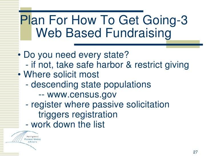 Plan For How To Get Going-3 Web Based Fundraising <ul><li>•  Do you need every state? </li></ul><ul><li>- if not, take saf...