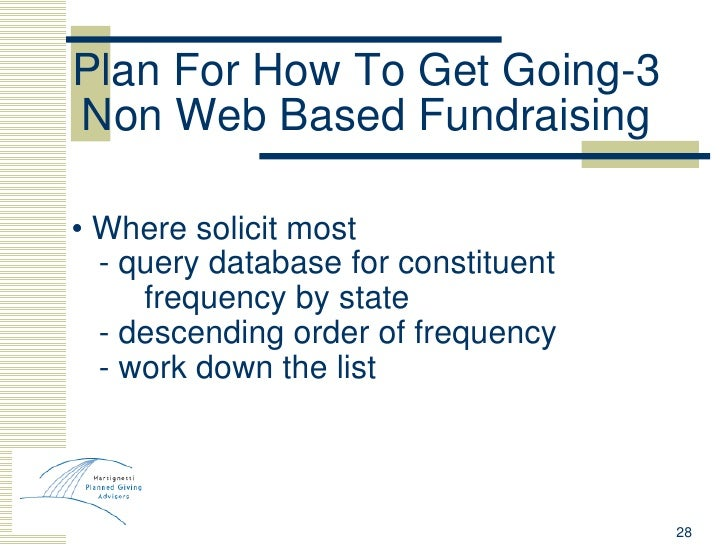 Plan For How To Get Going-3 Non Web Based Fundraising <ul><li>•  Where solicit most </li></ul><ul><li>- query database for...