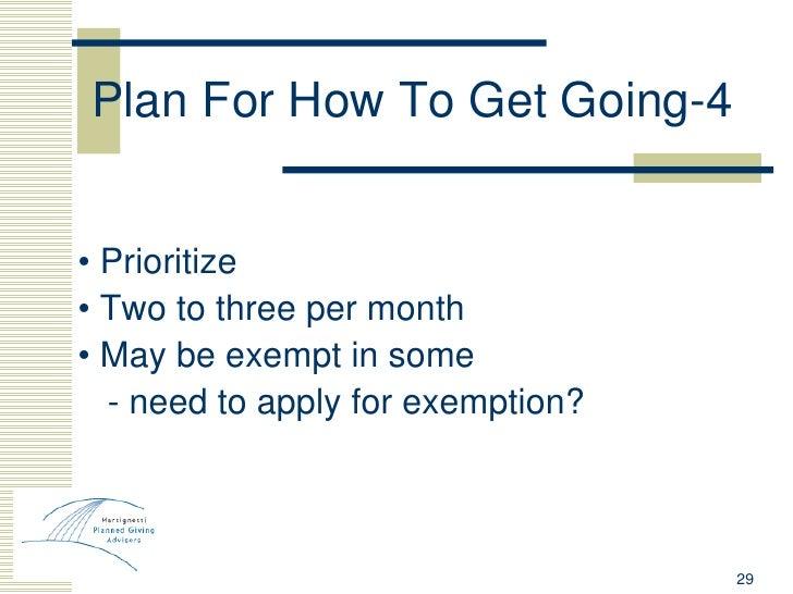 Plan For How To Get Going-4 <ul><li>•  Prioritize </li></ul><ul><li>•  Two to three per month </li></ul><ul><li>•  May be ...