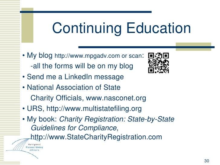 Continuing Education <ul><li>•  My blog  http://www.mpgadv.com or scan : </li></ul><ul><li>-all the forms will be on my bl...