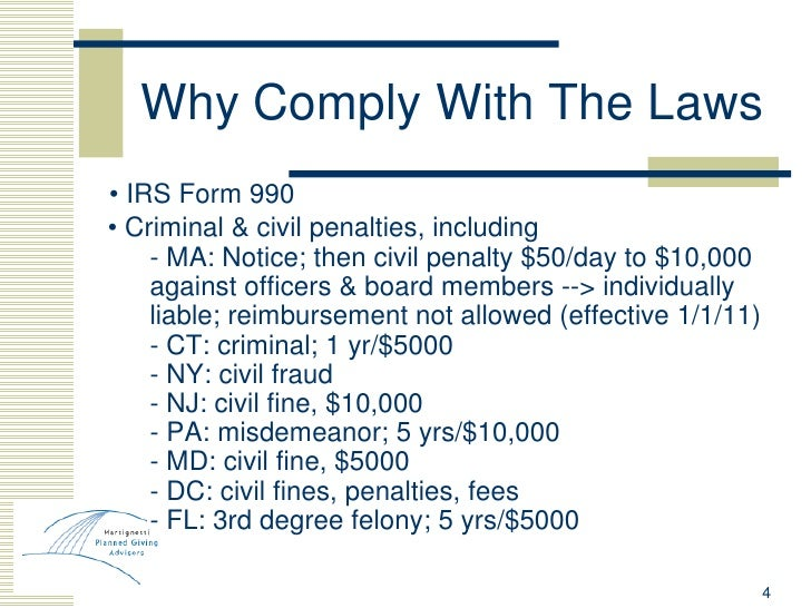 Why Comply With The Laws <ul><ul><li>•  IRS Form 990 </li></ul></ul><ul><li>  •  Criminal & civil penalties, including </l...