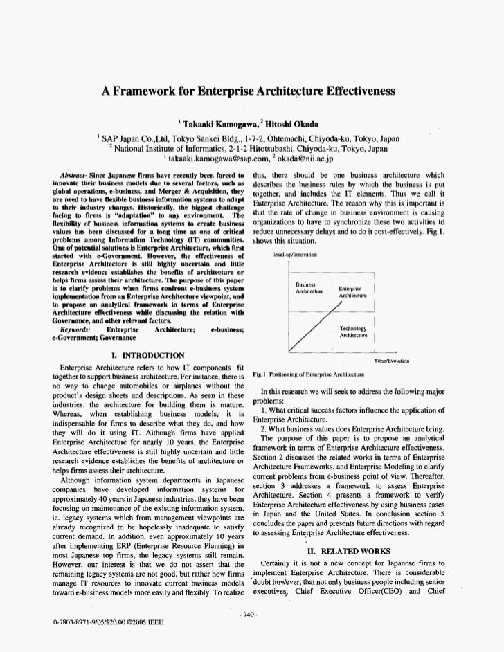 A Framework for Enterprise Architecture Effectiveness                                            Takaaki Kamogawa,* Hitosh...