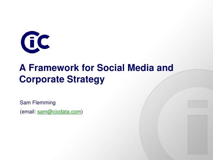 A Framework for Social Media and Corporate Strategy  Sam Flemming (email: sam@cicdata.com)