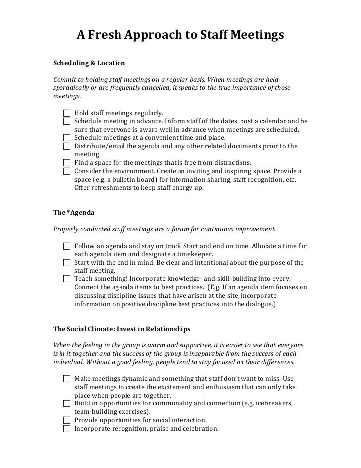 A Fresh Approach To Staff Meetings Handout (2)