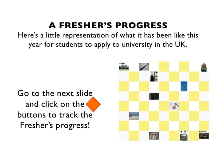 A FRESHER'S PROGRESSHere's a little representation of what it has been like this  year for students to apply to university...