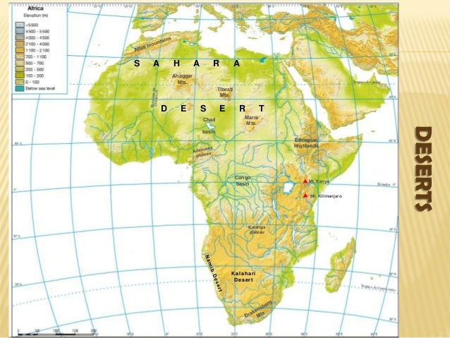 Map Of Africa Deserts.Africa Physical Map