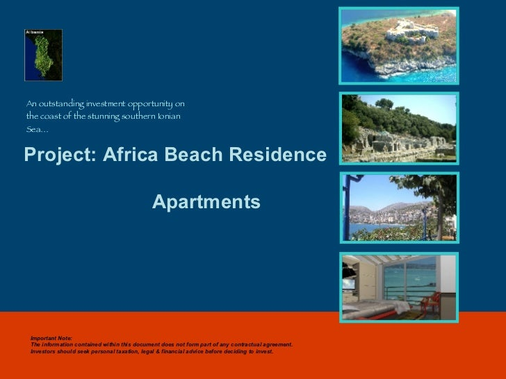 Project: Africa Beach Residence   Apartments An outstanding investment opportunity on the coast of the stunning southern I...