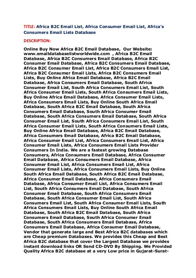 Africa b2 c email list, africa consumer email list, africa's