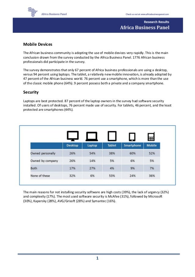 Africa business panel mobile devices survey - january 2014