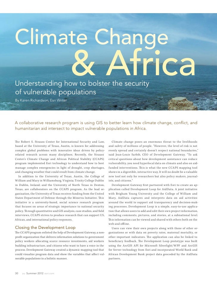 Climate ChangeUnderstanding how to bolster the security                                           & Africaof vulnerable po...