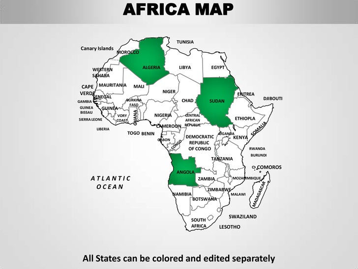 Africa editable continent map with countries