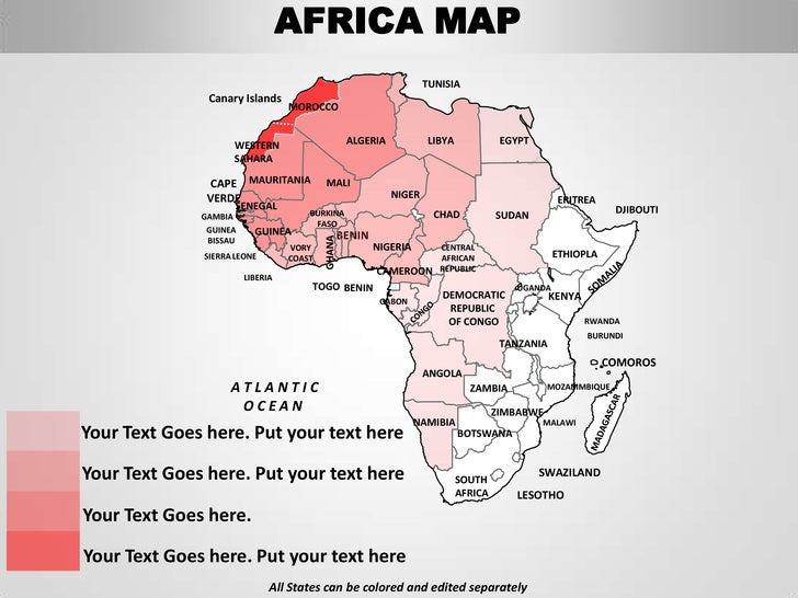 Africa Editable Continent Map With Countries - What continent is sudan in