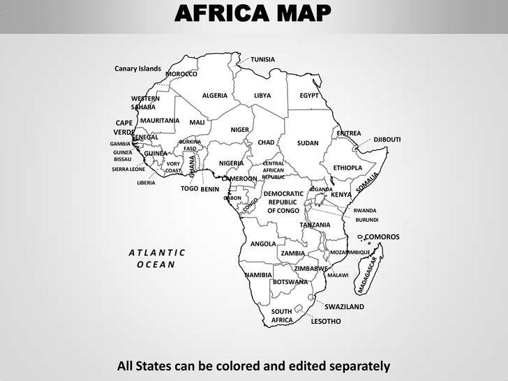 AFRICA MAP TUNISIA Canary Islands MOROCCO WESTERN ALGERIA LIBYA EGYPT  SAHARA CAPE MAURITANIA MALI VERDE NIGER ERITREA SENEGAL DJIBOUTIGAMBIA  BURKINA CHAD ...