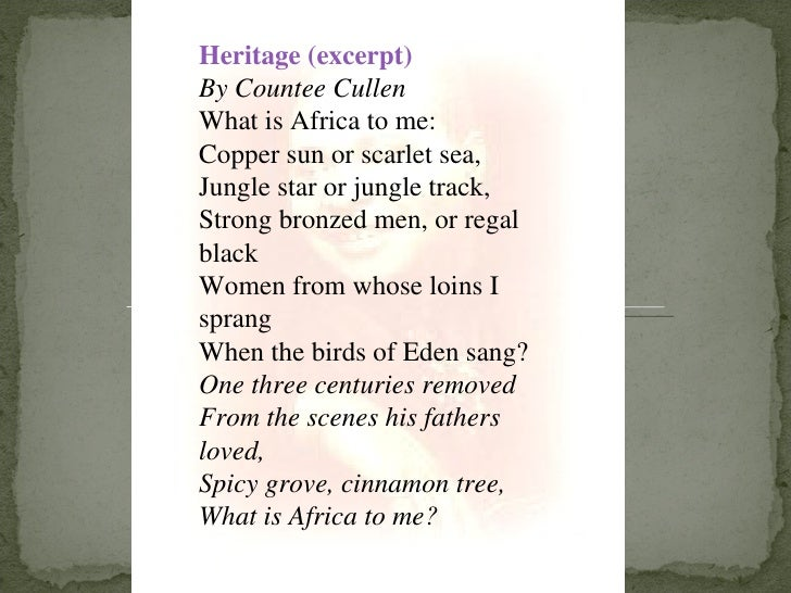 Heritage - Poem by Countee Cullen
