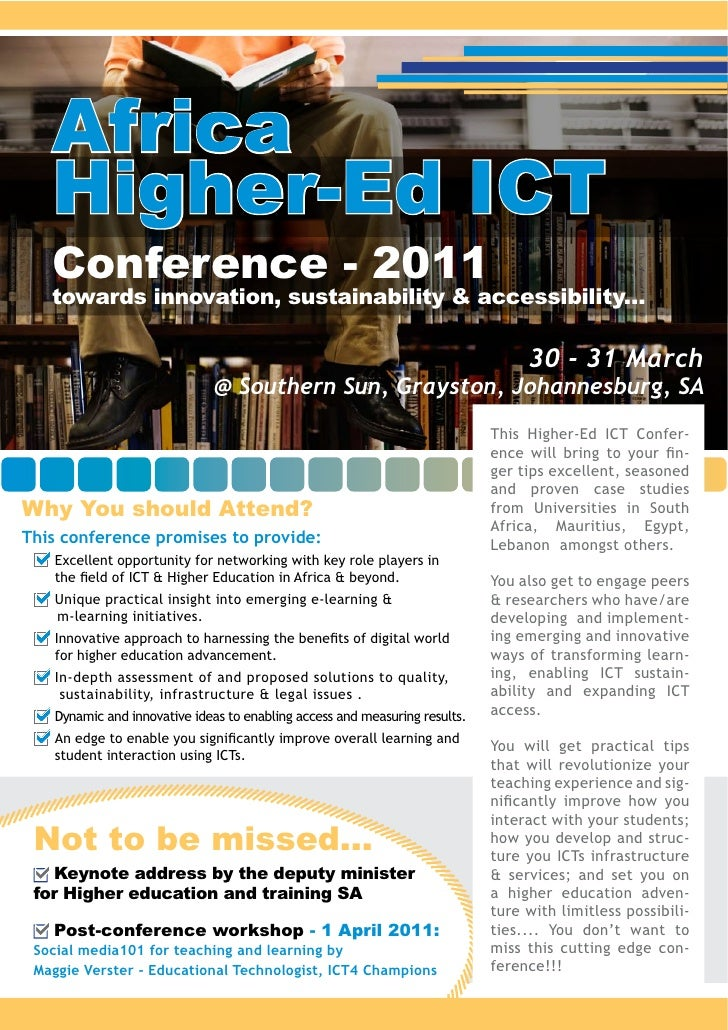 Africa   Higher-Ed ICT   Conference - 2011   towards innovation, sustainability & accessibility...                        ...